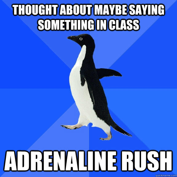 thought about maybe saying something in class adrenaline rush  - thought about maybe saying something in class adrenaline rush   Socially Awkward Penguin