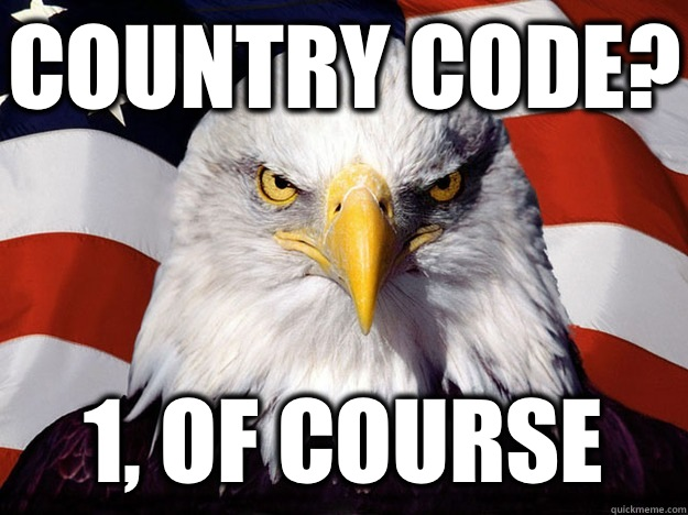 Country Code? 1, of course - Country Code? 1, of course  Evil American Eagle