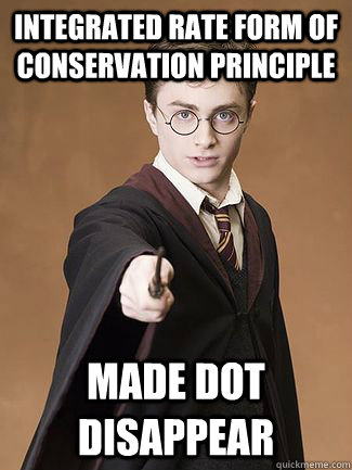 Integrated rate form of conservation principle Made dot disappear