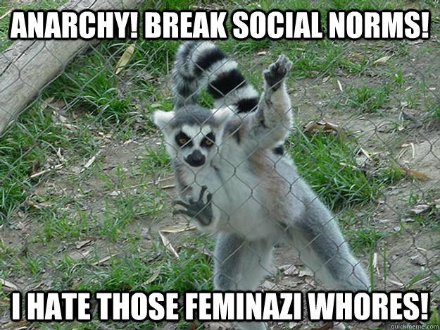 Anarchy! break social norms! I hate those feminazi whores!  Libertarian Lemur