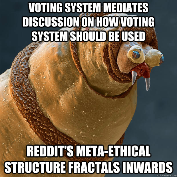 voting system mediates discussion on how voting system should be used REDDIT's meta-ethical structure fractals inwards