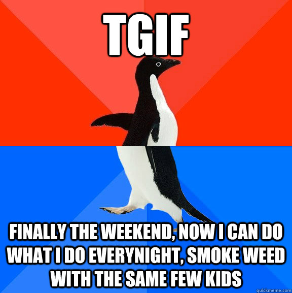 TGIF Finally the weekend, Now I can do what I do everynight, smoke weed with the same few kids - TGIF Finally the weekend, Now I can do what I do everynight, smoke weed with the same few kids  Socially Awesome Awkward Penguin