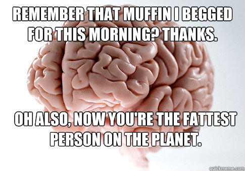 Remember that muffin I begged for this morning? Thanks. Oh also, now you're the fattest person on the planet.   - Remember that muffin I begged for this morning? Thanks. Oh also, now you're the fattest person on the planet.    Scumbag Brain