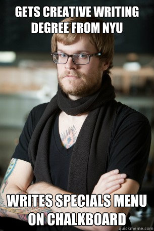 Gets Creative Writing Degree from NYU Writes Specials Menu on Chalkboard   Hipster Barista