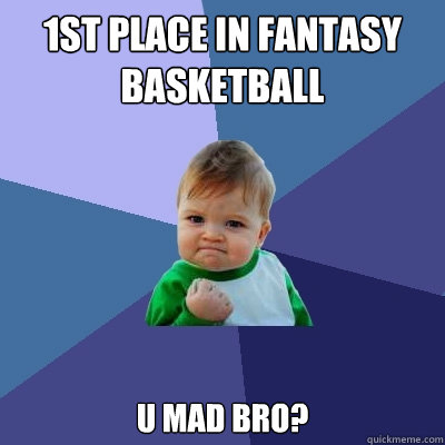 1st place in fantasy basketball U mad bro?  - 1st place in fantasy basketball U mad bro?   Success Kid