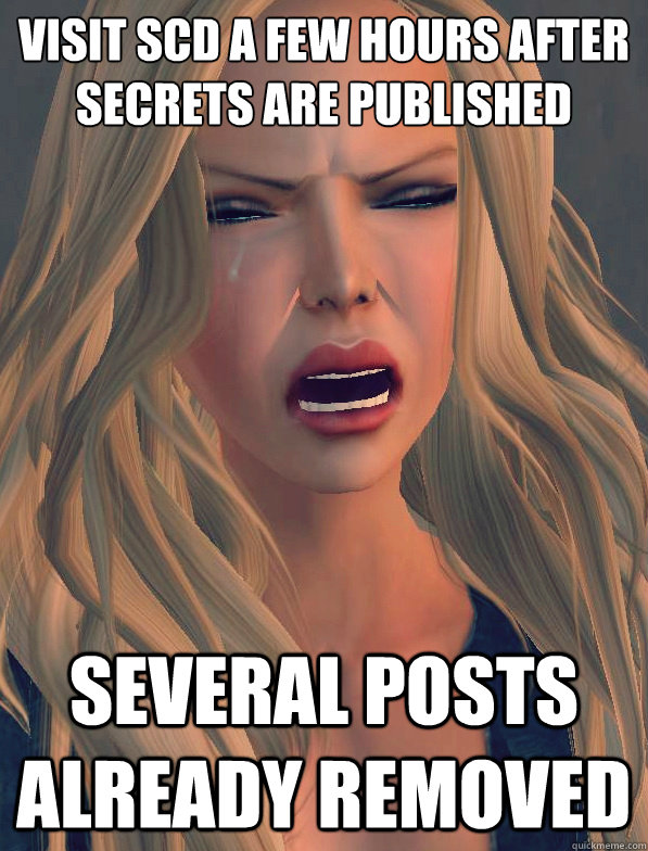 visit scd a few hours after secrets are published several posts already removed  secondlifeproblems