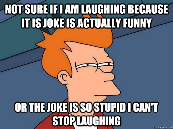 Not sure if I am laughing because it is joke is actually funny Or the joke is so stupid i can't stop laughing - Not sure if I am laughing because it is joke is actually funny Or the joke is so stupid i can't stop laughing  Futurama Fry