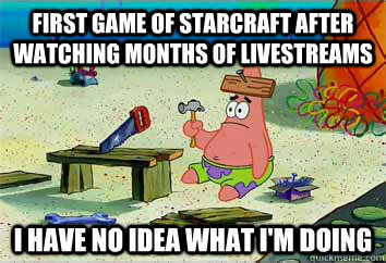 First game of starcraft after watching months of livestreams I have no idea what i'm doing  I have no idea what Im doing - Patrick Star