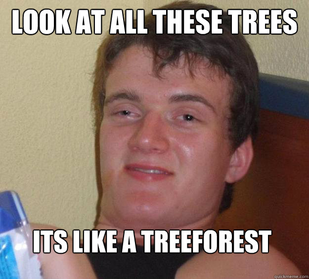 look at all these trees its like a treeforest  - look at all these trees its like a treeforest   10 Guy
