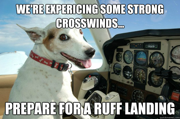 We're expericing some strong crosswinds... prepare for a ruff landing