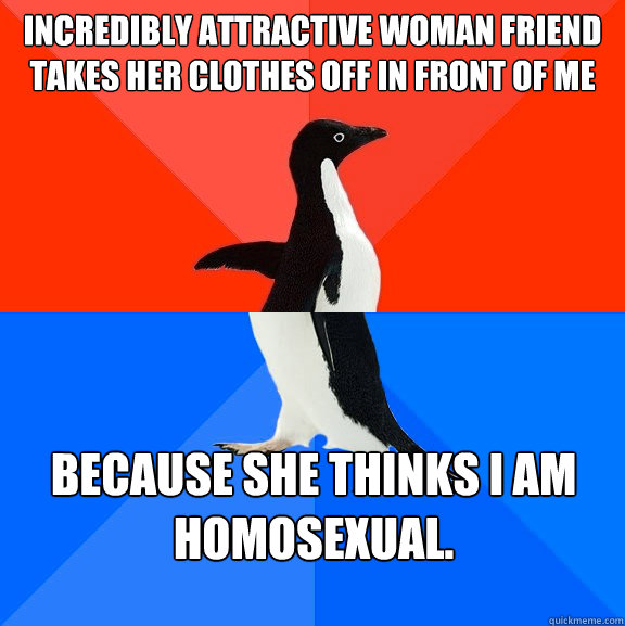 Incredibly attractive woman friend takes her clothes off in front of me Because she thinks I am homosexual. - Incredibly attractive woman friend takes her clothes off in front of me Because she thinks I am homosexual.  Socially Awesome Awkward Penguin