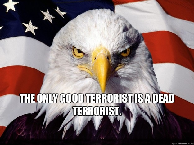 The only good terrorist is a dead terrorist. - angry eagle - quickmeme