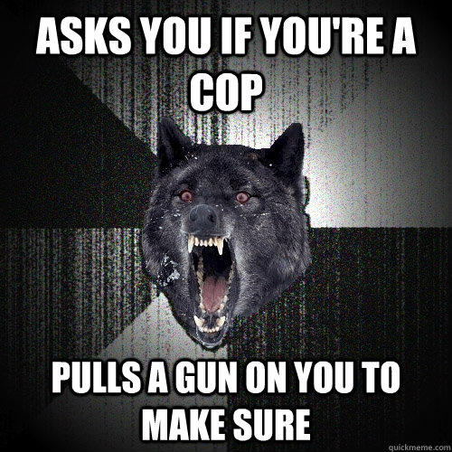 Asks you if you're a cop Pulls a gun on you to make sure - Asks you if you're a cop Pulls a gun on you to make sure  Insanity Wolf