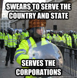 Swears to serve the country and state serves the corporations