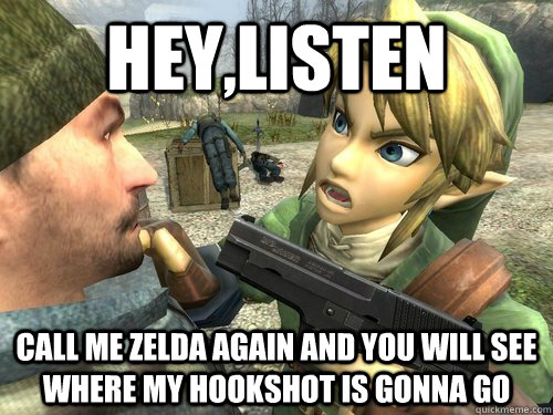 HEY,LISTEN call me zelda again and you will see where my hookshot is gonna go