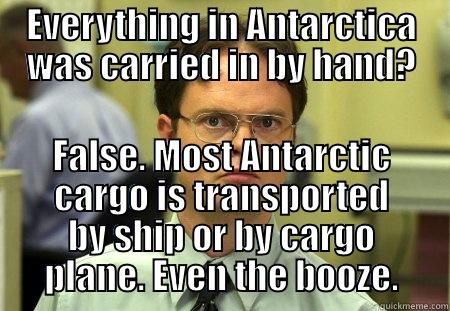 EVERYTHING IN ANTARCTICA WAS CARRIED IN BY HAND? FALSE. MOST ANTARCTIC CARGO IS TRANSPORTED BY SHIP OR BY CARGO PLANE. EVEN THE BOOZE. Dwight