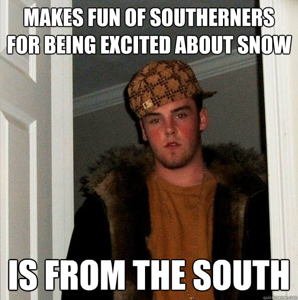 Makes fun of southerners for being excited about snow is from the south - Makes fun of southerners for being excited about snow is from the south  Scumbag Steve