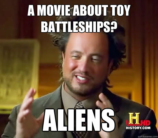 A movie about toy battleships? Aliens - A movie about toy battleships? Aliens  Ancient Aliens
