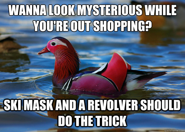 Wanna look mysterious while you're out shopping? Ski Mask and a revolver should do the trick  Malicious Fashion Advice Mallard