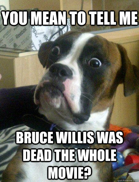 you mean to tell me Bruce Willis was dead the whole movie? - you mean to tell me Bruce Willis was dead the whole movie?  Baffled boxer