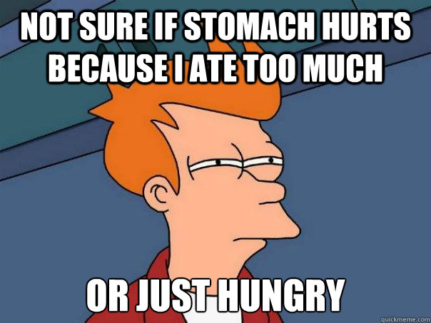 Not sure if stomach hurts because I ate too much Or just Hungry - Not sure if stomach hurts because I ate too much Or just Hungry  Futurama Fry
