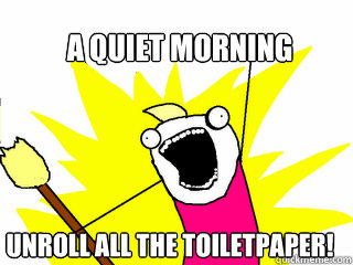 a quiet morning unroll all the toiletpaper! - a quiet morning unroll all the toiletpaper!  All The Things