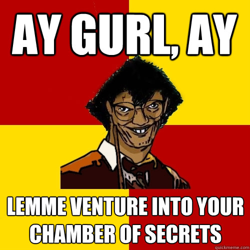 Ay Gurl Ay Lemme Venture Into Your Chamber Of Secrets Harry