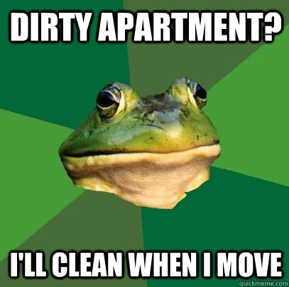 Dirty apartment? I'll clean when I move - Dirty apartment? I'll clean when I move  Foul Bachelor Frog