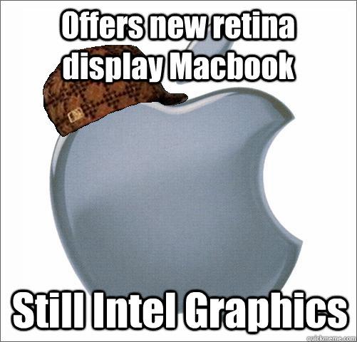 Offers new retina display Macbook Still Intel Graphics