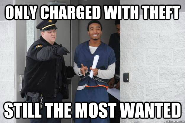 Only charged with theft Still the most wanted