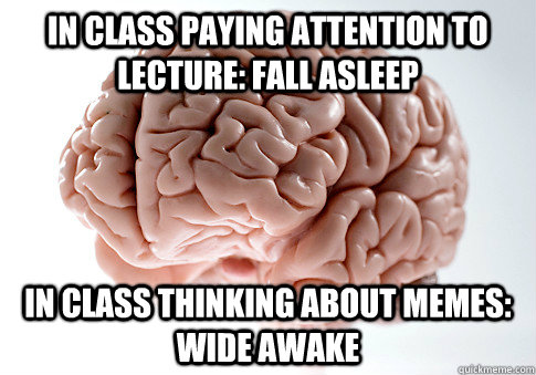 In class paying attention to lecture: Fall asleep  In class thinking about memes: Wide Awake - In class paying attention to lecture: Fall asleep  In class thinking about memes: Wide Awake  Scumbag Brain