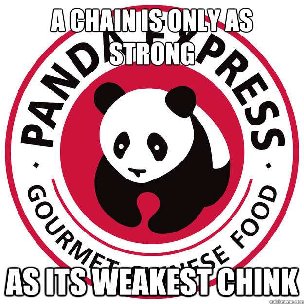 A Chain is only as strong As its weakest chink - A Chain is only as strong As its weakest chink  Asian