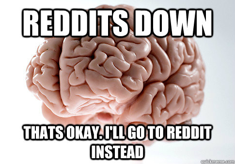 reddits down thats okay. i'll go to reddit instead - reddits down thats okay. i'll go to reddit instead  Scumbag Brain