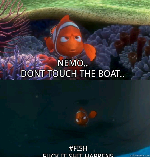 Nemo.. Dont touch the boat.. #fish fuck it shit happens