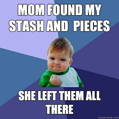 Mom found my stash and  pieces She left them all there - Mom found my stash and  pieces She left them all there  Success Kid