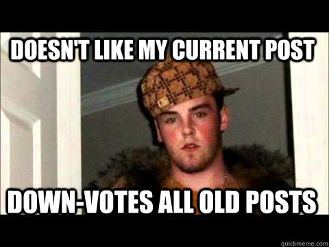 Doesn't like My current post Down-votes all old posts