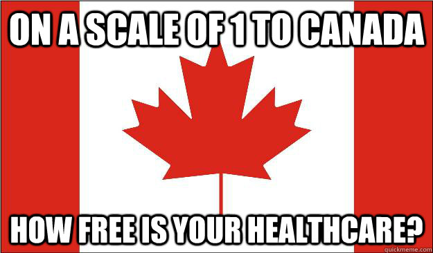 ON A SCALE OF 1 TO CANADA HOW FREE IS YOUR HEALTHCARE?