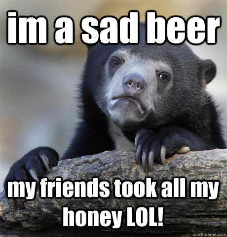 im a sad beer my friends took all my honey LOL! - im a sad beer my friends took all my honey LOL!  Confession Bear