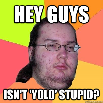 hey guys isn't 'yolo' stupid?