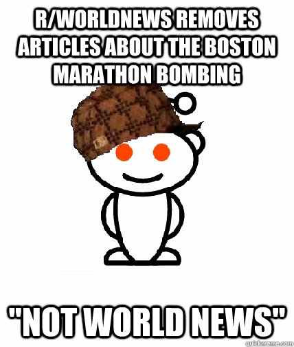 r/worldnews removes articles about the boston marathon bombing