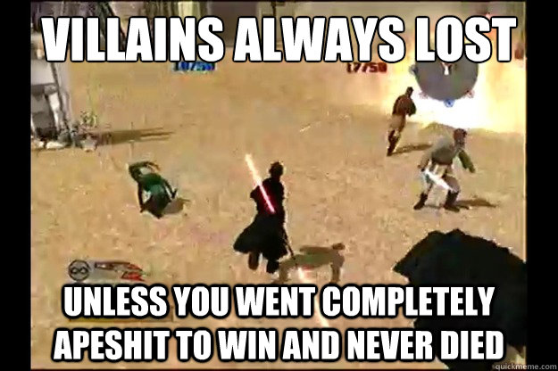 villains always lost unless you went completely apeshit to win and never died - villains always lost unless you went completely apeshit to win and never died  Misc