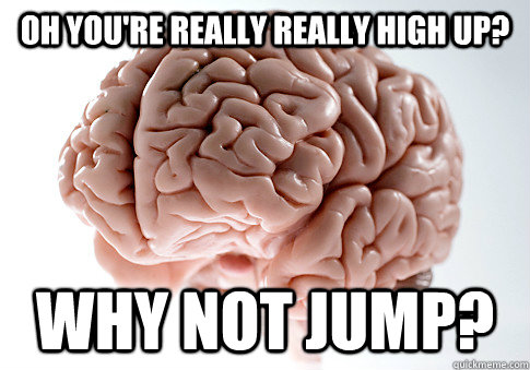 oh you're really really high up? why not jump? - oh you're really really high up? why not jump?  Scumbag Brain
