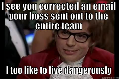 I SEE YOU CORRECTED AN EMAIL YOUR BOSS SENT OUT TO THE ENTIRE TEAM I TOO LIKE TO LIVE DANGEROUSLY live dangerously
