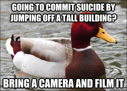 Going to commit suicide by jumping off a tall building? bring a camera and film it - Going to commit suicide by jumping off a tall building? bring a camera and film it  Malicious Advice Mallard