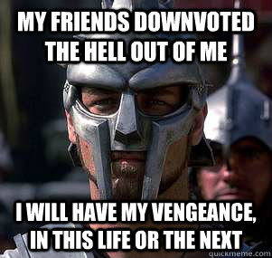 My friends downvoted the hell out of me I will have my vengeance, in this life or the next - My friends downvoted the hell out of me I will have my vengeance, in this life or the next  Misc