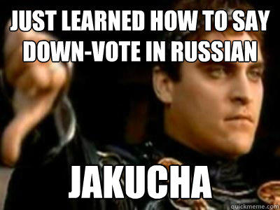 Just learned how to say down-vote in Russian Jakucha - Just learned how to say down-vote in Russian Jakucha  Downvoting Roman