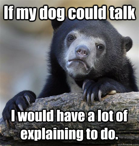 If my dog could talk I would have a lot of explaining to do. - If my dog could talk I would have a lot of explaining to do.  Confession Bear
