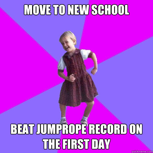 Move to new school Beat jumprope record on the first day