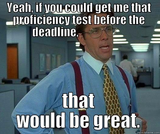 YEAH, IF YOU COULD GET ME THAT PROFICIENCY TEST BEFORE THE DEADLINE,                       THAT WOULD BE GREAT. Office Space Lumbergh
