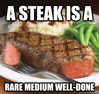 a steak is a  rare medium well-done - a steak is a  rare medium well-done  But I perfer steak lol